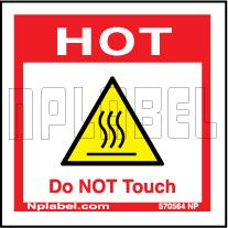 570564 Hot - Do Not Touch Caution Sticker