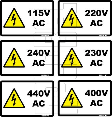 5810XX 115 To 440 Volts AC Sticker & Labels