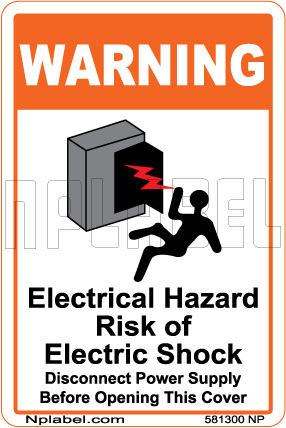 581300ML Electrical Hazard Caution Metal Labels