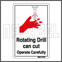 582115 Rotating Drill Sign Sticker & Labels