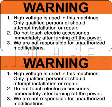 590928 High Voltage Warning Stickers
