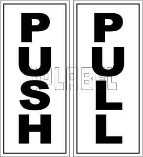 591690 Push/Pull Door Sign Sticker Label