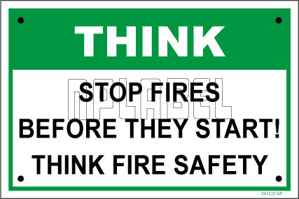 592515ML Stop Fires Metal Sign Label