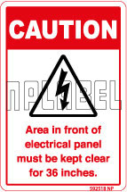 592518 Panel Area Must Be Clear Instruction Label