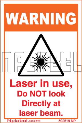 592519 Laser In Use Caution Sticker