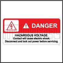 770600 Danger - Hazardous Voltage Labels & Sticker
