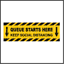 CD1969 Queue Starts Here Floor Sticker